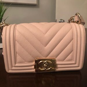 Chanel small caviar leather chevron boy bag